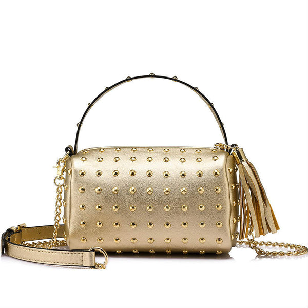 <p><b>ROCKSTAR</b><br><p>Mini Clutch Gold Stud Crossbody Bag</p>