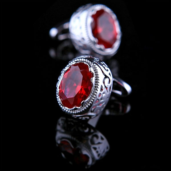 <p><b>RUBY MAGIC</b><br><p>Signature Ruby Tone & Crystal Cufflinks</p>