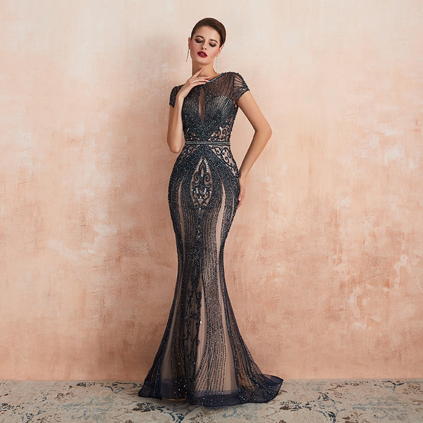 "<p style=""font-size: 18px;""><b>SASHA</b></p><p style=""color:grey"">HEAVY CRYSTAL EMBELLISHED MERMAID GOWN-NOIR</p>"