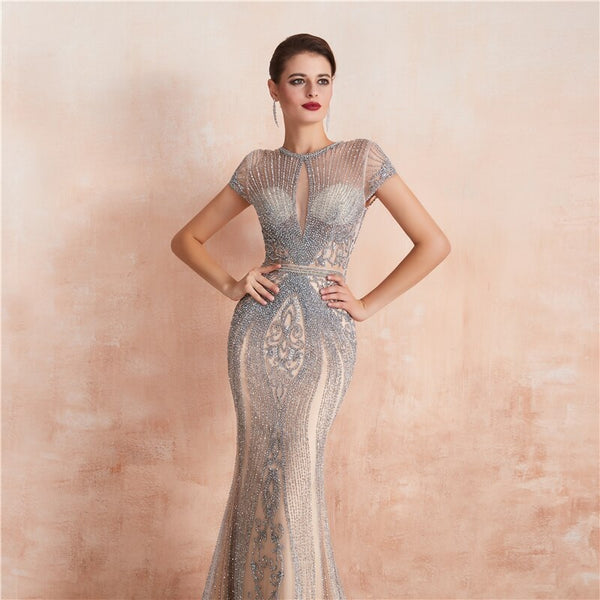 "<p style=""font-size: 18px;""><b>SASHA</b></p><p style=""color:grey"">HEAVY CRYSTAL EMBELLISHED MERMAID GOWN-SILVER SHIMMER</p>"