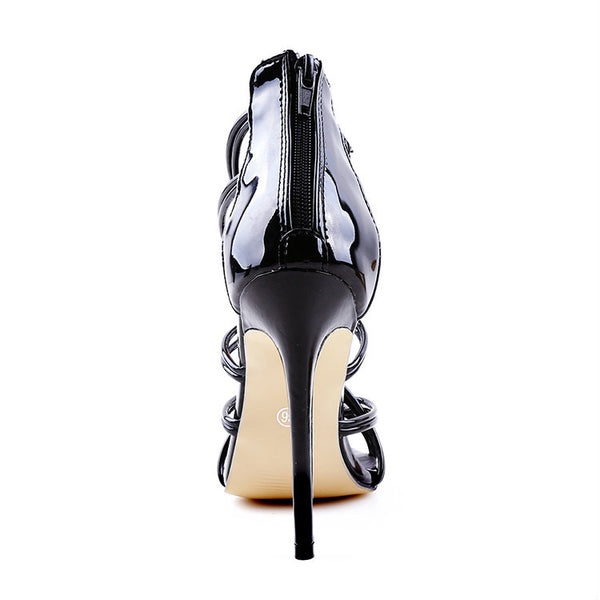 <p><b>SEDUCTIVE</b><br><p>Black Patent Leather Multi Strap Heels</p>