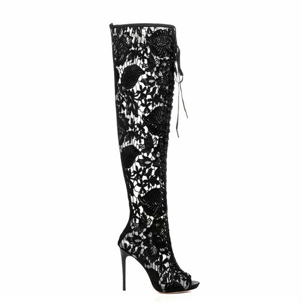 <p><b>SEXY LACEY</b><br><p>Black Over Knee Lace Peeptoe Heels</p>