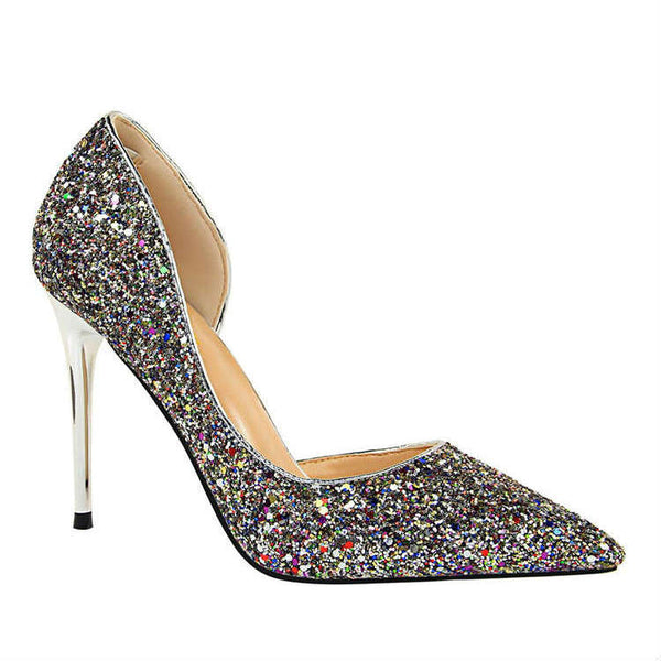 SHIMMER - Sequined Glitter Sparkle Court Heels