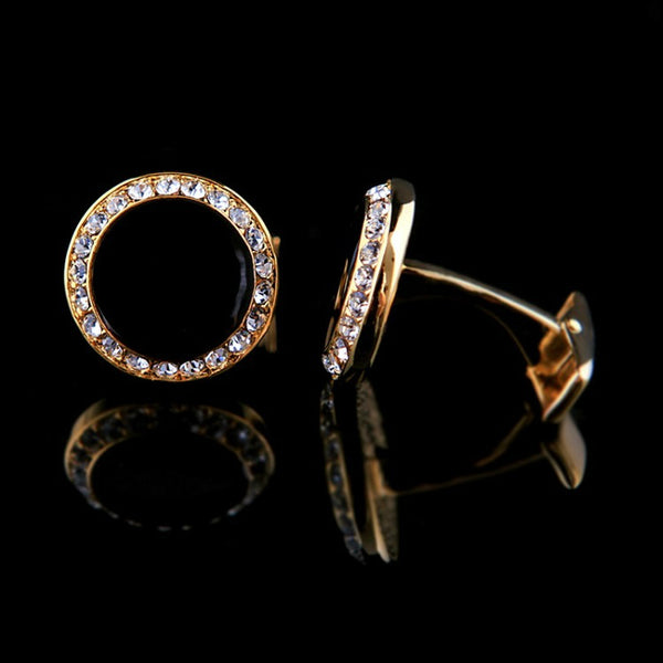 SIGNATURE NOIR - Crystal Embedded Gold Cufflinks