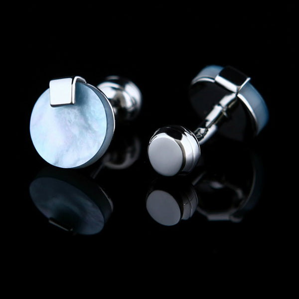 SKY PEARL - Blue Shell Face Cufflinks in Silver