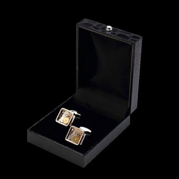 Square Enclosure Cufflinks Featuring A Vintage Mechanical Gear Design In Rhodium Plated Silver Casing