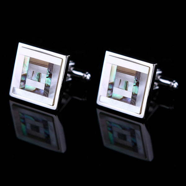 SQUARE FRAME - Mother of Pearl Cufflinks in Silver
