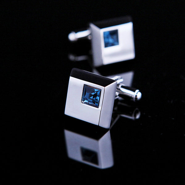 SQUARE WINDOW - Blue Gem Tie Clip & Cufflinks Set