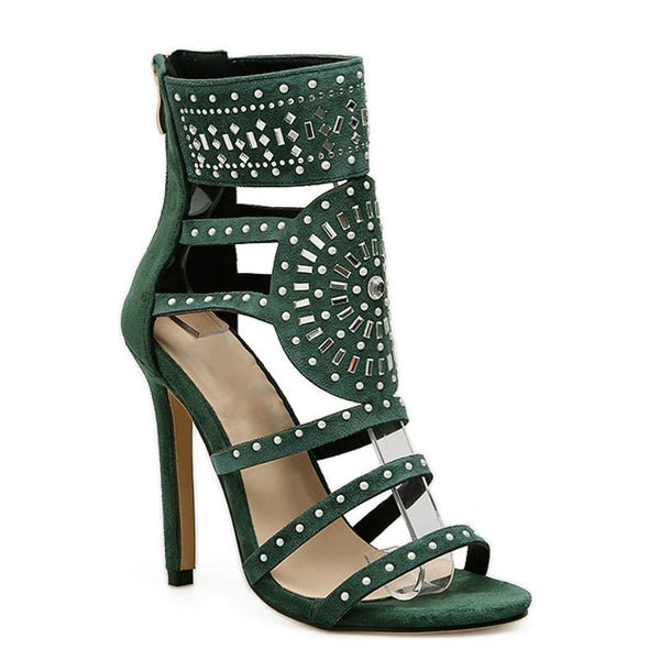 SUPER DIVA - Suede Studded Heeled Sandals