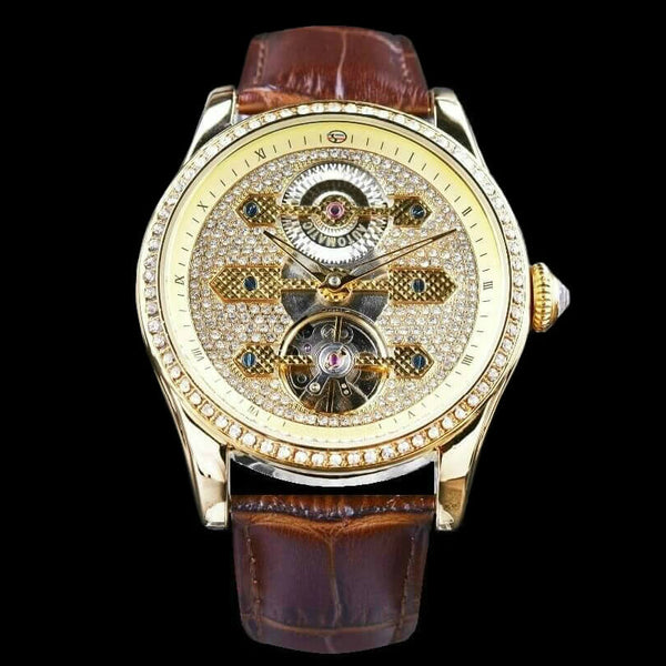 The Grandeur Tourbillon Timepiece Large Dial Watch With Gold Case Bezel And Brown Leather Strap
