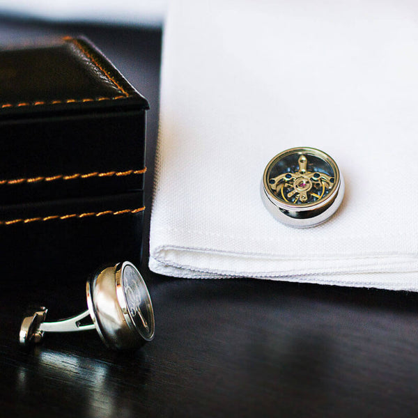 Tourbillon Movement Cufflinks Featuring A Vintage Mechanical Gear Design In Rhodium Plated Silver Casing And A Diamond Pattern Background