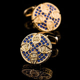 VINTAGE COLLECTION - Blue Gemset Cufflinks in Plated Gold