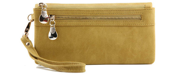 <p><b>SENSATION</b><br><p>Gold Zip PU Leather Purse with Wrist Strap</p>