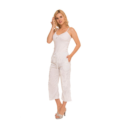 White Crushed Velvet Pants c.1043 - Allegro Styles
