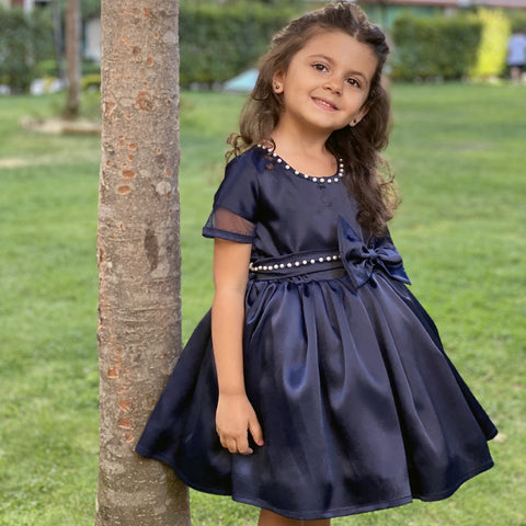 Girls' navy satin dress with bodice and bow