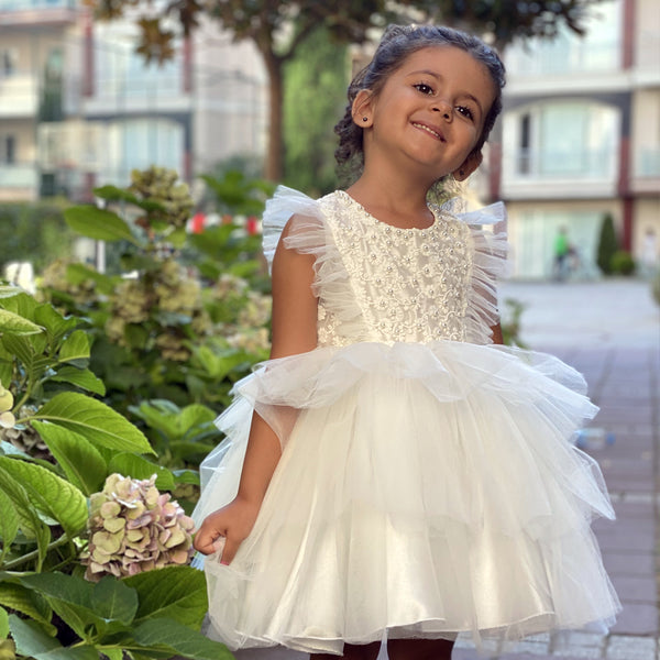 Girl's white dress with pearl beads