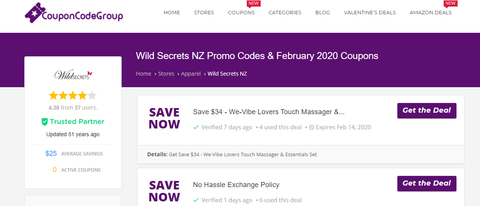 Coupon codes of Wildsecrets