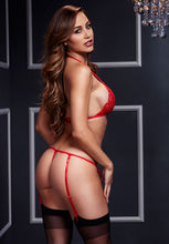 Load image into Gallery viewer, Two Piece Red Lace Bra And Garter Panty