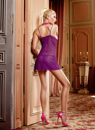 BACI 084 - Two-Piece Chemise Set - Purple/Red