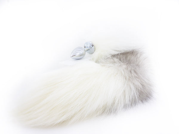 Arctic Fox Tail Metal Butt Plug - Natural fur