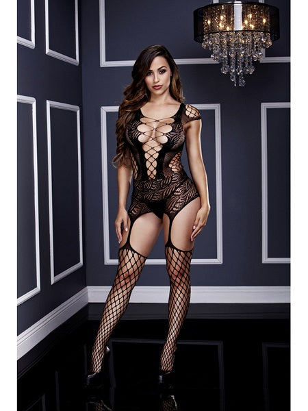 Bodysuit Corset Front Suspender Design With Built In Fishnet Leggings