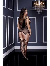 Load image into Gallery viewer, Bodysuit Corset Front Suspender Design With Built In Fishnet Leggings