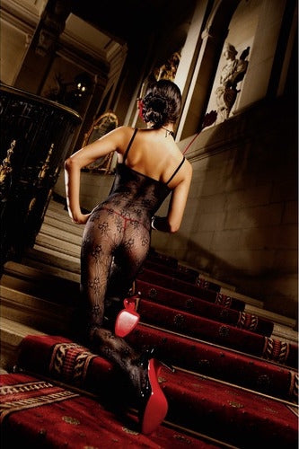 BACI 165 - Flower Lace Bodystocking - Black