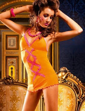 Load image into Gallery viewer, BACI 295 Ruffle Mesh Slip Dress OS - Orange with Pink
