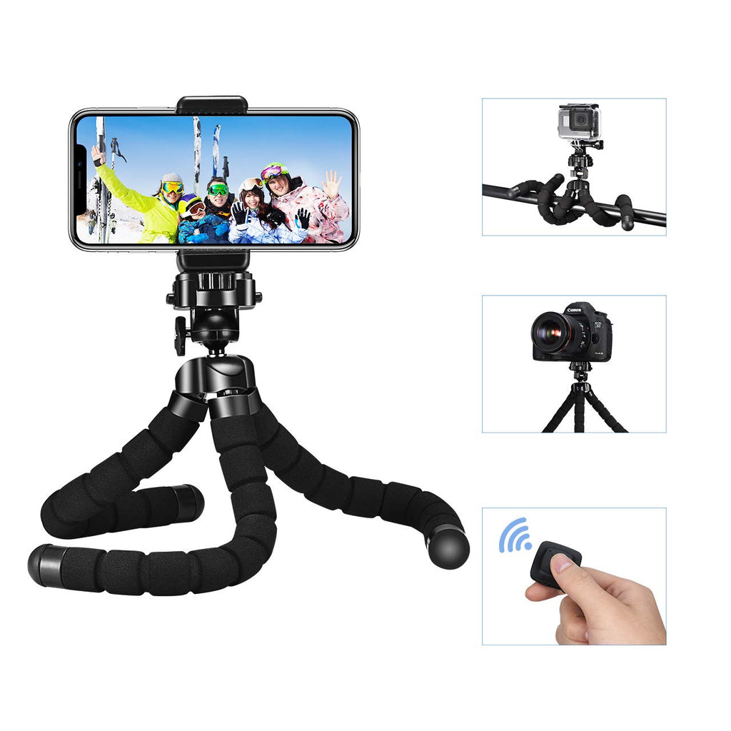 FLEXIBLE MINI TRIPOD FOR GOPRO CAMERA AND SMARTPHONE BLUETOOTH REMOTE CONTROL