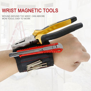 Magnetic Bracelet for handyman with 5 strong magnets to fix your bolts, screws, nails, tools.