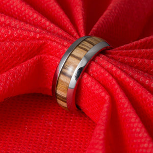 New Arrival Never Fade Vintage Titanium Stainless Steel Ring Wooden Engagement Ring For Men Women