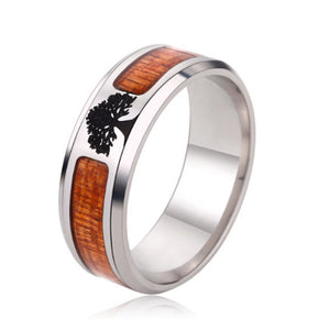 Hot Sale Wood Inlay Fashion Jewelry Men's Classic Wedding Fashion TREE Ring Including Half Size