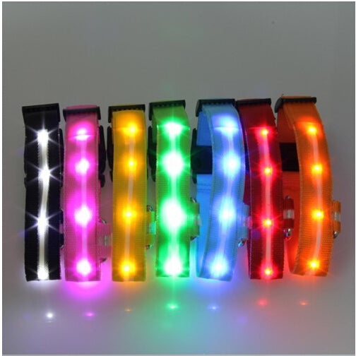 5 Colors Night Safety LED Dogs Collar,Nalon Lights Flashing Glow In Dark Electric Pet Coolars