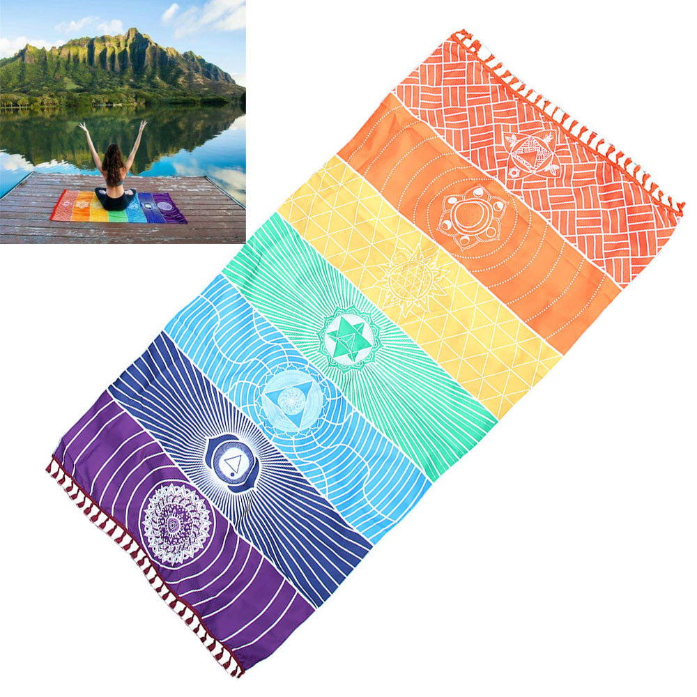 Rainbow Beach Mat Mandala Blanket Wall Hanging Tapestry Stripe Towel Yoga Original design Mala beads