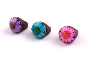 High Quality Resin wooden creative personality Rhinestone Flower Ring For Women Finger Jewelry