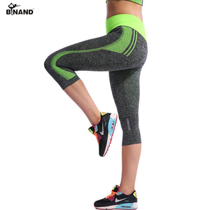 Women High Elastic Capri Tights Running 3/4 Length Fitness Yoga Pants Gym Exercise Quick Dry Stretch