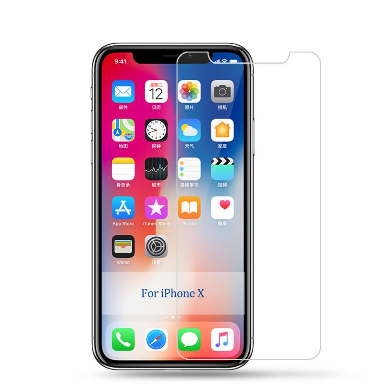 9H tempered glass For iphone X 8 4s 5 5s 5c SE 6 6s plus 7 plus screen protector protective guard film case cover+clean kits