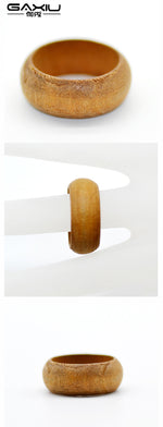 Nature Wood Ring For Women Girls Wooden Personality Rings Retro Resin Narrow Rings Handmade Log Wood