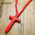 Meaeguet Large Wood Catholic Jesus Cross With Wooden Bead Carved Rosary Pendant Long Collier Statement Necklace Men Jewelry