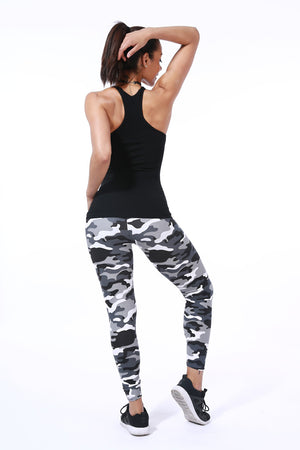 Women Yoga Pants Spring Elastic Sport Camouflage Leggings 3D Print Thin Fleece Slim Capris Quick