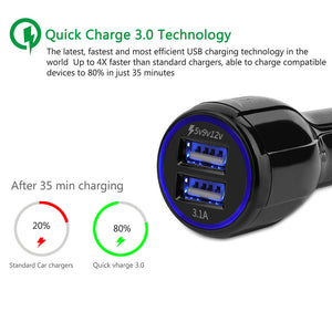 fast charger 5V 3.1A Dual USB Qualcomm Quick Charge 3.0 for Xiaomi Mi4 5 iPhone Samsung Galaxy S7 S6