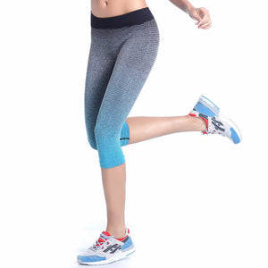 Yoga Sport Leggings Summer Capri Pants For Running Fitness Gym Clothes Elastic Capris Gym Athletic