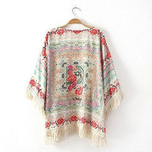 Spring Autumn Women's Girls Floral Printing Long Loose Knitted Cardigan Shawl Cape Sweater Coat