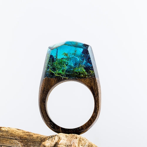 DANZE Magic Wooden Ring For Women Secret Forest Resin Inside World Wood Finger Jewelry Accessories