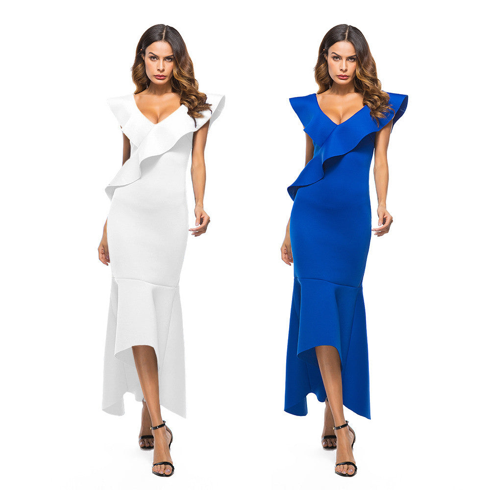 Sexy Women Dress Sleeveless Ruffle Irregular Dress Evening Party Dress