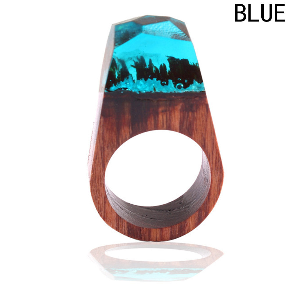 Handmade Jewelry With Wood Resin Ring Magniticent Tiny Transparent Fantastic Wooden Ring  Men Women