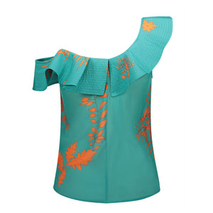 One Shoulder Blue Green Blouse