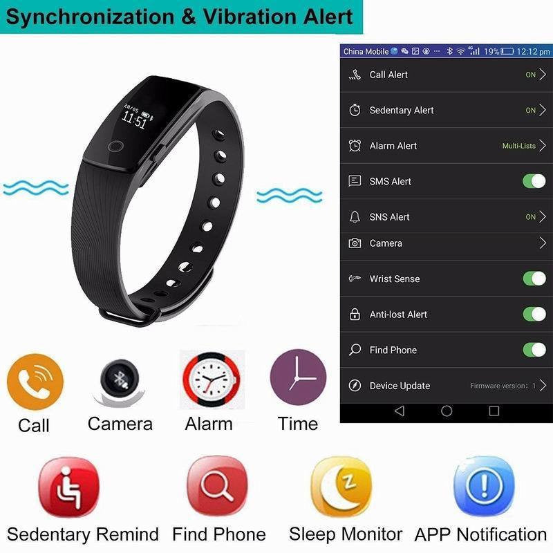 Fitness Tracker Wrist Based Heart Rate Monitor Waterproof Smart Bracelet Step Tracker Sleep Monitor