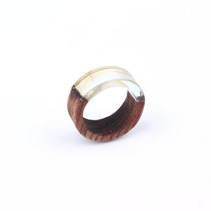 Retro Punk Clear Resin Wood Rings For Women Men Jewelry Resin Round Circle Ring Carving Joint