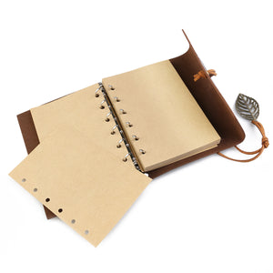 Vintage Style Leaf Leaves Pattern PU Cover Loose-leaf String Bound Blank Notebook Travel Journal